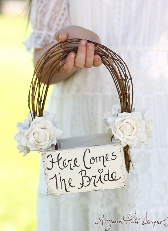 Here Comes The Bride Flower Girl Basket Rustic Country Wedding