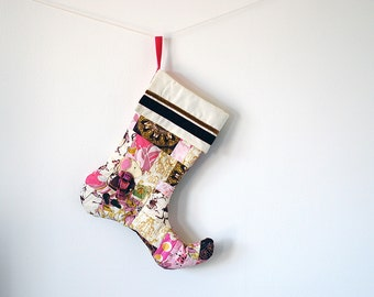 Patchwork Quilted Christmas Stocking in Gold, Burgundy, Pink, Plum and Cream with Handmade Felt Mouse Embellishment