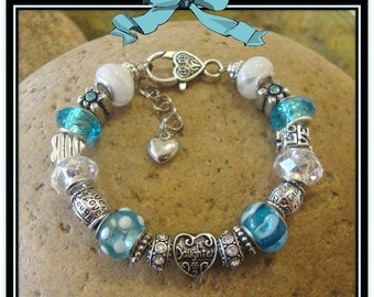 DAUGHTER Bracelet in Turquoise & White - European Style