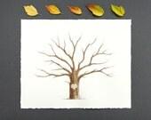 Wedding Tree Guest Book Family Tree Customizable Original Watercolor Painting Thumbprint Tree