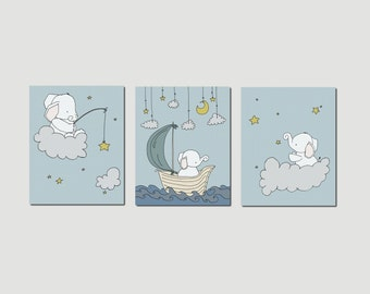 Elephant Nursery Art Prints -- Nursery Decor -- Elephants Clouds and Stars Art -- Set Of 3 Prints -- Kids Wall Art
