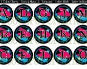 Retro Sparkly Alphabet 1in Circles Digital Image 4x6