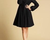 Black jacket,wool coat, cashmere coat,winter jacket,coat dress,ladies clothing,womens coat, Custom made, made to order, mod clothing  354