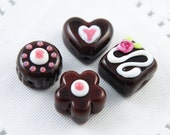 Pink and White Lampwork Glass Chocolate Beads in a Tin, Faux Sweets, Heart, Flower, Valentine's Day