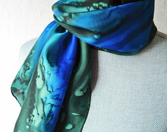 Silk Scarf Hand Dyed in Bright Blue and Forest Green