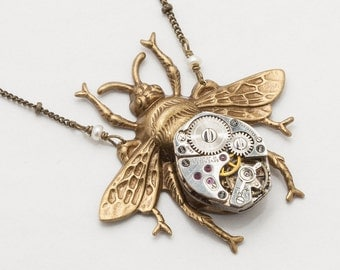 Steampunk Necklace vintage silver watch movement gears gold bumble bee pearl Steampunk Jewelry Victorian pendant Statement Gift Necklace
