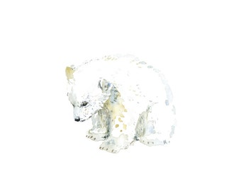 polar bear cub, watercolor postcard, arctic animals for children, kids room art