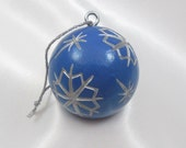 Christmas Ornament, Golf Gift For Golfer, Blue Snowflake Ornament, Carved Golf Ball, Golfer Gift