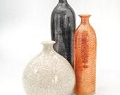 Set of 3 Trio Ceramic Bottles, Modern Fine Home Decor Metallic Light Orange White Grey Black Vessels, vase, minimal handmade pottery vases