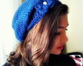 Slouchy Beanie, Tam, Dread, Snood - MADE TO ORDER,  Flower Brooch, Pick Your Color, Crocheted