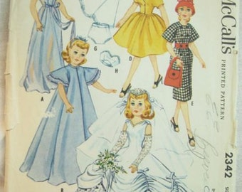 McCalls 2342 Doll Wedding Dress Wardrobe Vintage Sewing Pattern Size 18