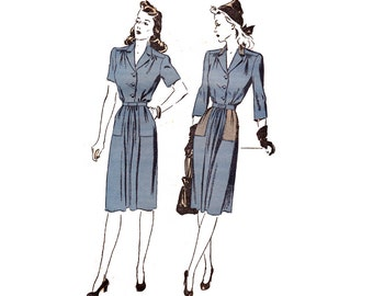 1940s Womens Shirtdress Pattern Advance 3428 Vintage Sewing Pattern Shirtwaist Dress War Era Bust 36 inches Sew For Victory