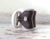 Chocolate Brown Stripe Java Jacket, Gourmet Mocha Latte Cafe Cocoa Coat Wrap Coffee Tea Mug Cozy Large Cup Sleeve, Foodie Gift for Men, Dad