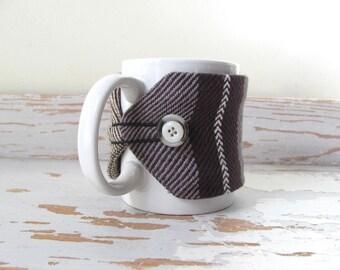 Gourmet Coffee Mug Cozy, Brown Coffee Mug Wrap, Large Cup Sleeve, Tea Mug Cozy, Mocha Latte Cafe Java Mug Cosy, Rustic Foodie Dad Mens Gift