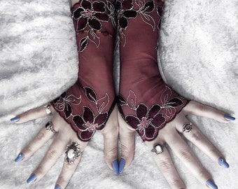 Amaranthus Long Lace Fingerless Gloves - Dark Burgundy Maroon Plum White Floral - Wedding Gothic Bellydance Burlesque Goth Bridal Eggplant