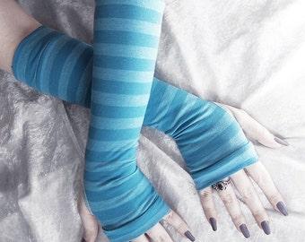 Piper Arm Warmers | Mykonos Cerulean Blue Striped Cotton | Gothic Yoga Cycling Running Emo Vampire Unisex Gloves Goth Casual Cosplay Gypsy