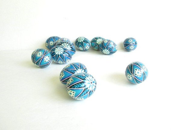 one blue pysanka egg ukrainian easter egg by
