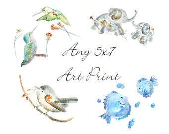 ANY 5x7 Print, small watercolor print, giclee, Nursery Art, animal watercolor painting, cottage decor, custom size, whimsical wall art