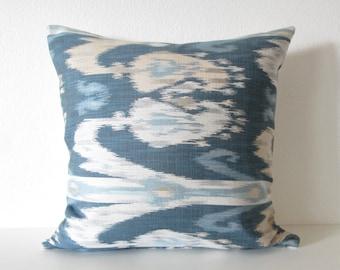 Blue Tones Ikat Decorative Pillow Cover