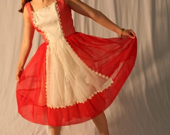 Vintage 60s 'Daisy' Chiffon Party Dress / Red White