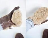 Vintage Mittens - Fuzzy Wuzzy Faux Fur - Women's One Size on label - UNISEX adults - Beige