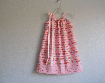 Girls Pink Pillowcase Dress - Pink with Colorful Friendship Flags - Toddler Sun Dress - Size 12m, 18m, 2T, 3T, 4T, 5, 6, 8, or 10