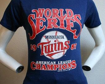 1987 Minnesota Twins World Series baseball american league championship MLB sports unisex 50/50 t-shirt - men's sz XS/S