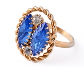 Vintage Blue Ring Rhinestone Costume Jewelry Oval Marquise Royal Blue Cocktail Ring Adjustable Retro Classy Rope