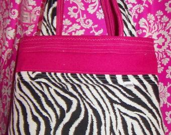 Zebra Purse - Hot Pink - Tote - Cotton - Flannel - Grocery Bag - Medium Size