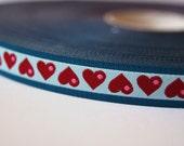Jacquard Ribbon, Heart Ribbon, Oh My Blue Heart Ribbon, Blue Heart Ribbon, Farbenmix Ribbon, Blue Heart Sewing Tape, 1 metre