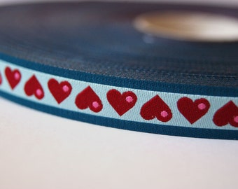 Jacquard Ribbon, Heart Ribbon, Oh My Blue Heart Ribbon, Blue Heart Ribbon, Farbenmix Ribbon, Blue Heart Sewing Tape, 1 metre