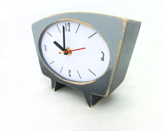 Gray Desk Clock, Grey Ombre clock, Shaded clock, Vintage 60s style, Table clock, Unique gift, Spring home decor, Mothers day gift