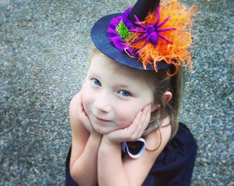mini witch hat, witch headband, halloween flower headband,orange purple black headband, photo prop, feather headband, baby headband,glitter