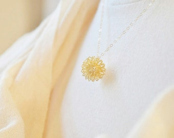 Gold Dandelion Charm Necklace - 14K gold filled chain, nature inspired, botanical design, dainty feminine