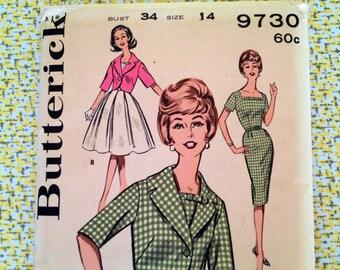 1960s Dress Pattern * Butterick 9730 * Cocktail Dress * Sheath or Full Skirt * Uncut