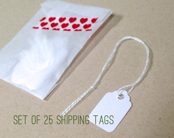 25 White Extra Small Mini Tiny Scalloped Shipping Gift Hang Tags . Scrapbook Journaling Spots . December Daily . Gift Wrap Packaging