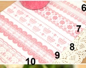 Victorian White // Pink Lace Transparent Jumbo Deco Tape - Floral Pattern