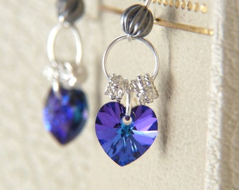 Crystal Heaer Earrings - Blue Purple Earrings - Swarovski Crystal Heart Dangle Earrings - Glitter Earrings - Romantic Jewelry