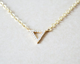 Tiny Triangle Studded Geometric Necklace - Delicate Layering Style Jewelry
