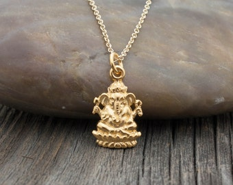 Gold Ganesha Necklace - Yoga Jewelry . Outdoor & Sportsman. Gift Idea for Her. 24K Gold Dipped Ganesh Pendant