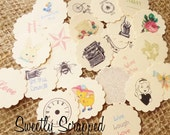 Variety Of Vintage Images Scalloped Circles, Toppers, Scrapbooking, Cardmaking, Embellishments, Grab Bag