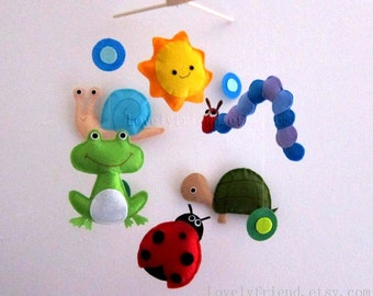 "Baby Crib Mobile - Baby Mobile - Ladybug decorative Mobile - ""Happy Caterpillar and Ladybug"" (Pick your color)"