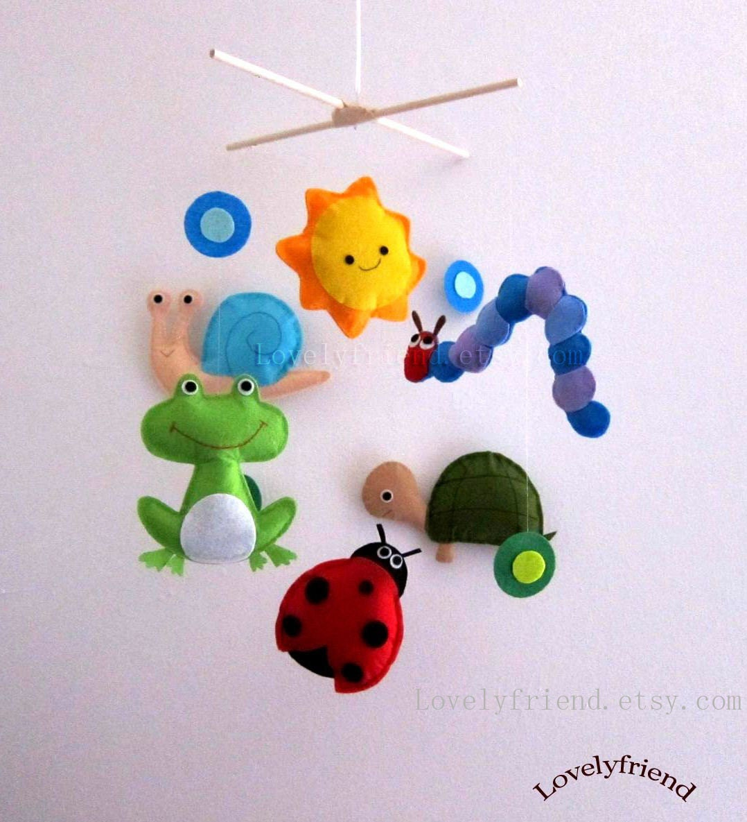 baby crib mobile baby mobile ladybug decorative by lovelyfriend. Black Bedroom Furniture Sets. Home Design Ideas