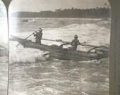 Antique Stereograph Card Fishermen Ceylon 1907 Black and White Photograph Vintage Victorian GallivantsVintage