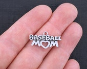 5 Baseball Mom Charms Antique Silver Tone - SC3323