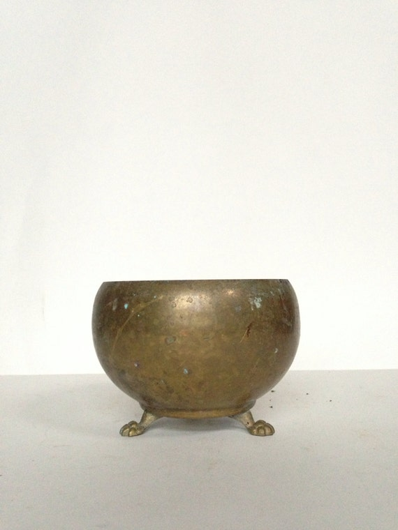 Vintage Brass Footed Planter / Cachepot - Solid Brass by Frolick Specialties - Home Decor