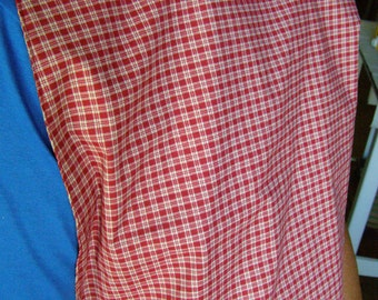 Special Needs Apron Adult Bib reversible extra long Red Check Homespun