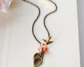 Calla Lily Necklace. Antiqued Brass Calla Lily Pink Bell Flowers Brass Swallow Bird Necklace. Vintage Style, Woodland, Callalily Necklace