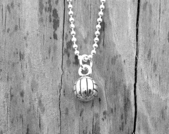 Volleyball Necklace, Volleyball Charm, Volleyball Jewelry, Volleyball Pendant, Charm Necklace, Sterling Silver Jewelry, Beach Volleyball