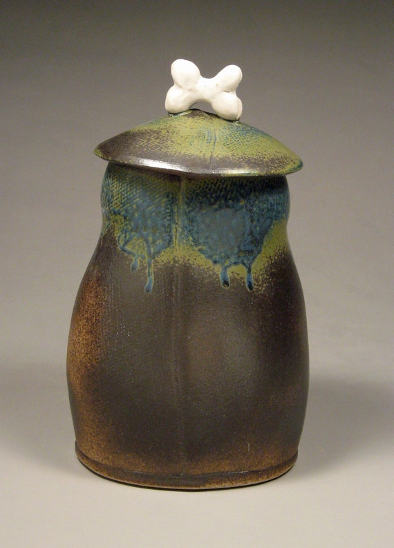 Funky Blue/Brown Ceramic Dog Treat Canister with Porcelain Bone Handle